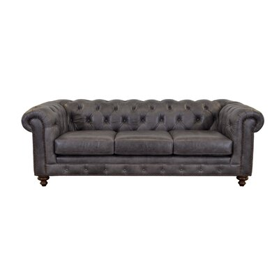 Newbury Leather Chesterfield Sofa Upholstery: Distressed Dark Brown