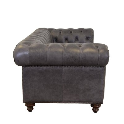 Newbury Genuine Top Grain Tufted Leather Chesterfield Sofa Upholstery Color: Burnham Black