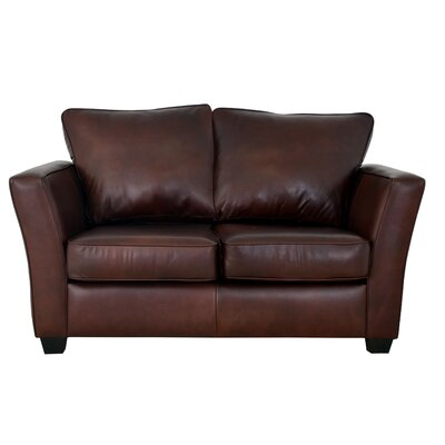 Bridgeport Genuine Top Grain Leather Loveseat Upholstery: Distressed Dark Brown