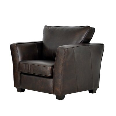 Bridgeport Genuine Top Grain Club Chair Upholstery: Distressed Dark Brown