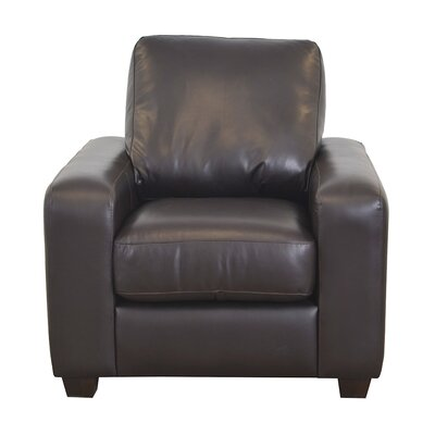 Hanson Genuine Top Grain Leather Club Chair Upholstery: Distressed Dark Brown