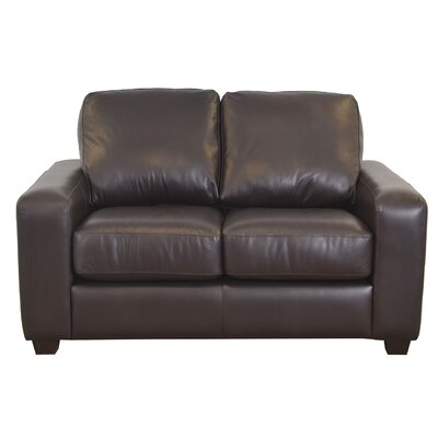 Hanson Genuine Top Grain Leather Loveseat Upholstery: Distressed Dark Brown