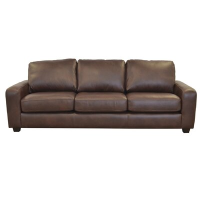 Hanson Genuine Top Grain Leather Sofa Upholstery: Berkshire Charcoal