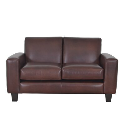 Columbia Genuine Top Grain Leather Loveseat Upholstery: Distressed Dark Brown