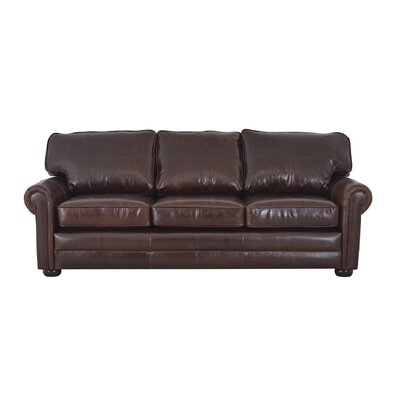 Fenway Studio Genuine Top Grain Leather Sofa Upholstery: Distressed Dark Brown