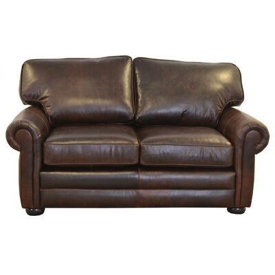 Fenway Studio Genuine Top Grain Leather Loveseat Upholstery: Distressed Dark Brown