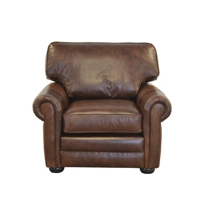 Fenway Studio Genuine Top Grain Leather Club Chair Upholstery: Berkshire Charcoal