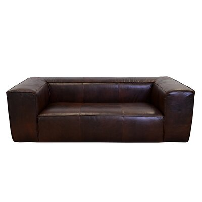 Lawton Genuine Top Grain Leather Sofa Upholstery: Burnham Black