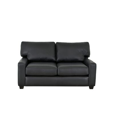 Kenmore Studio Genuine Top Grain Leather Loveseat Upholstery: Burnham Black