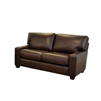 Kenmore Studio Genuine Top Grain Leather Loveseat Upholstery: Berkshire Dark Brown