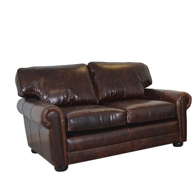 Fenway Studio Genuine Top Grain Leather Loveseat Upholstery: Brompton Brown