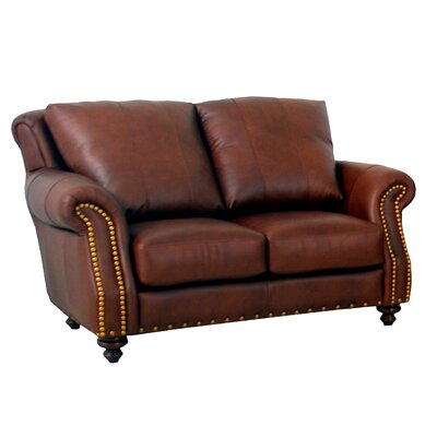 Randolph Leather Loveseat Upholstery: Distressed Dark Brown