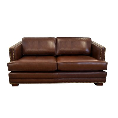 Millbury Genuine Top Grain Leather Sofa Upholstery: Distressed Dark Brown