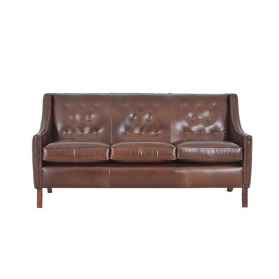 Woburn Genuine Top Grain Leather Sofa Upholstery: Distressed Dark Brown