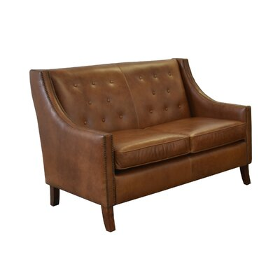 Woburn Genuine Top Grain Leather Loveseat Upholstery: Distressed Whiskey