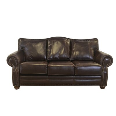 Westford Genuine Top Grain Leather Sofa Upholstery: Distressed Dark Brown