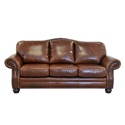 Parker Genuine Top Grain Leather Sofa Upholstery: Brompton Deep Red
