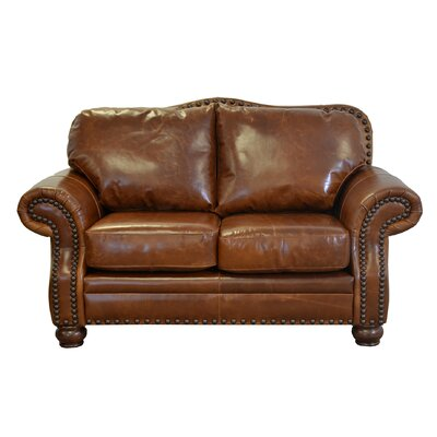Parker Genuine Top Grain Leather Loveseat Upholstery: Distressed Whiskey