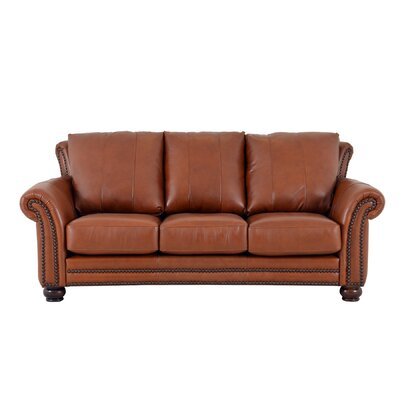 Clinton Genuine Top Grain Leather Sofa Upholstery: Distressed Whiskey