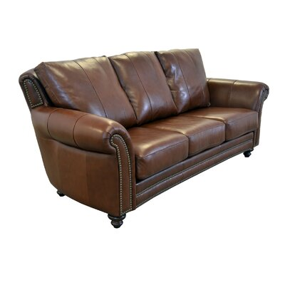 Clinton Genuine Top Grain Leather Sofa Upholstery: Distressed Dark Brown
