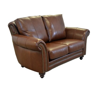 Clinton Genuine Top Grain Leather Loveseat Upholstery: Distressed Whiskey
