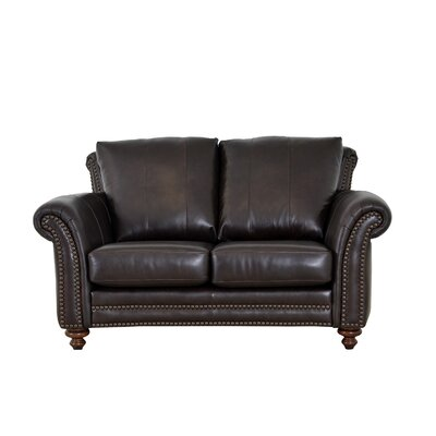 Clinton Genuine Top Grain Leather Loveseat Upholstery: Distressed Dark Brown