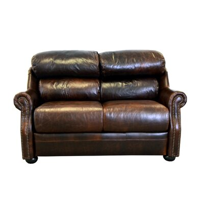 Beacon Genuine Top Grain Leather Loveseat Upholstery: Distressed Dark Brown