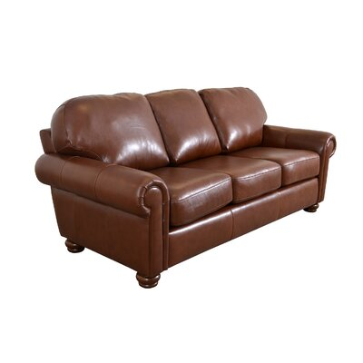 Heath Leather Sofa Upholstery: Brompton Deep Red