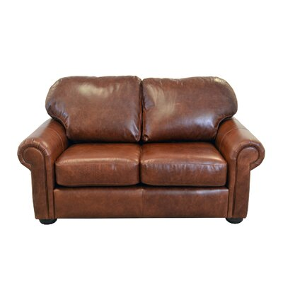 Heath Genuine Top Grain Leather Loveseat Upholstery: Distressed Dark Brown