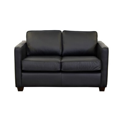 Salisbury Genuine Top Grain Leather Loveseat Upholstery: Burnham Black