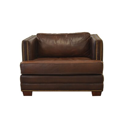 Millbury Genuine Top Grain Armchair Upholstery: Distressed Dark Brown