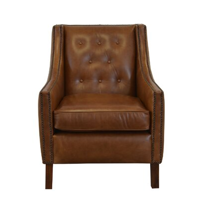 Woburn Genuine Top Grain Club Chair Upholstery: Burnham Black