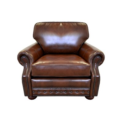 Middleton Genuine Top Grain Leather Club Chair Upholstery: Distressed Dark Brown