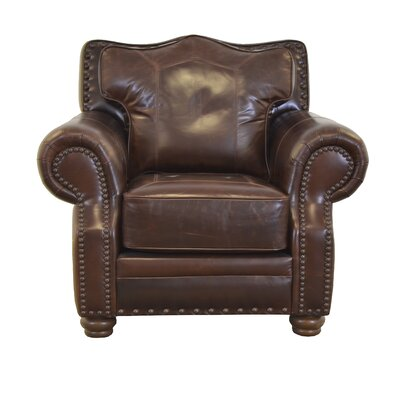 Westford Genuine Top Grain Leather Club Chair Upholstery: Brompton Brown