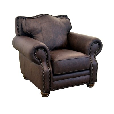Westford Genuine Top Grain Leather Club Chair Upholstery: Distressed Dark Brown