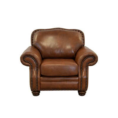 Parker Genuine Top Grain Leather Club Chair Upholstery: Distressed Dark Brown