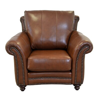 Clinton Leather Club Chair Upholstery: Distressed Dark Brown