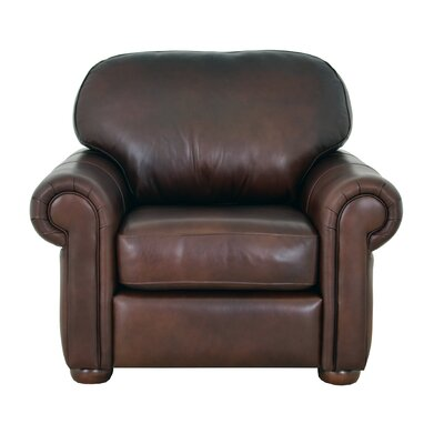 Heath Leather Club Chair Upholstery: Distressed Dark Brown