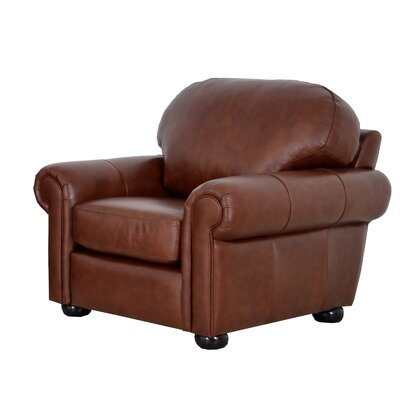Heath Leather Club Chair Upholstery: Brompton Brown