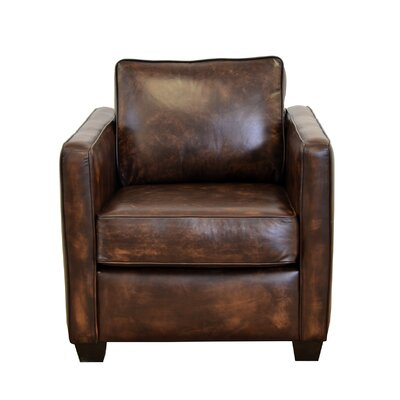 Salisbury Genuine Top Grain Leather Club Chair Upholstery: Distressed Dark Brown