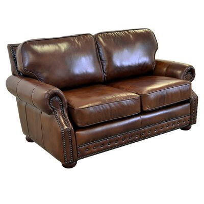 Middleton Genuine Top Grain Leather Loveseat Upholstery: Distressed Dark Brown