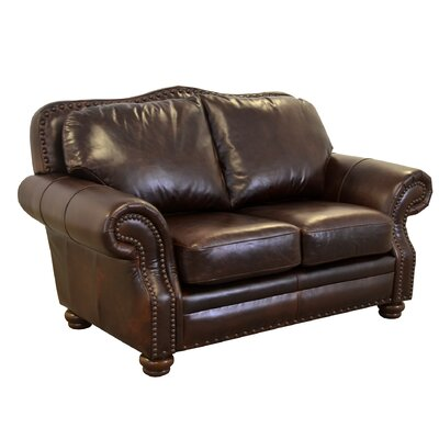 Parker Genuine Top Grain Leather Loveseat Upholstery: Distressed Dark Brown