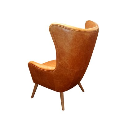 Elm Top Grain Leather Wingback Chair
