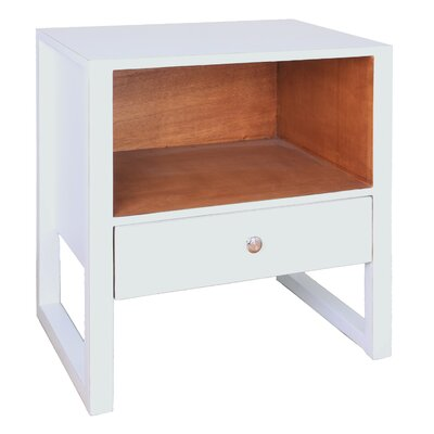 Edith 1 Drawer End Table Color: White