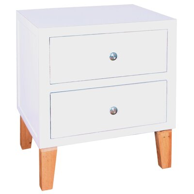 Hunter 2 Drawer End Table Finish: White
