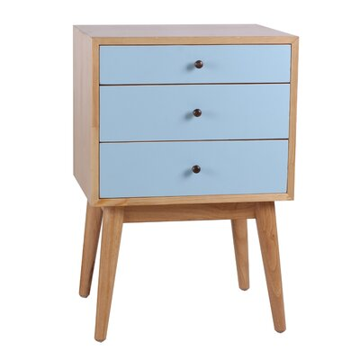 Monet 3 Drawer End Table Color: Aqua