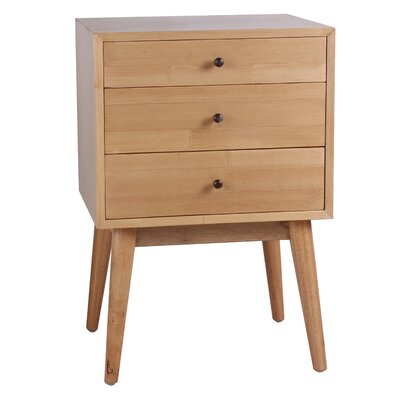 Monet 3 Drawer End Table Color: Natural