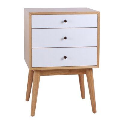 Monet 3 Drawer End Table Color: White
