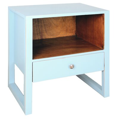 Edith 1 Drawer End Table Color: Aqua