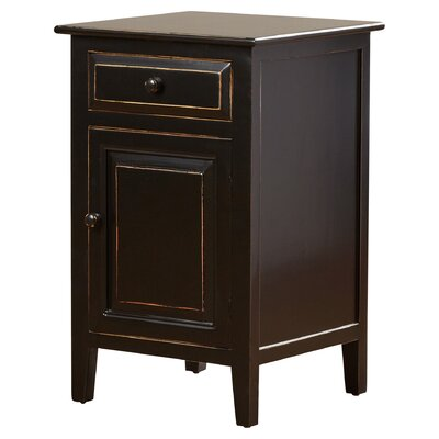 Ellen Mae 1 Drawer Nightstand Color: Black